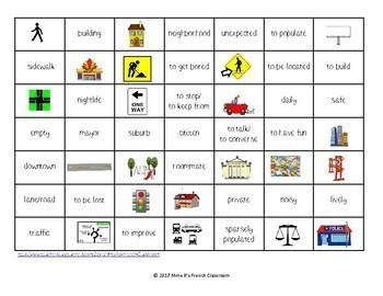 D'accord 3 Leçon 2: En ville Connect 4 style vocabulary Game