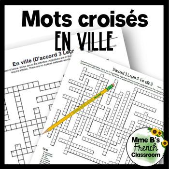D'accord 3 Leçon 2 En ville Crossword puzzles