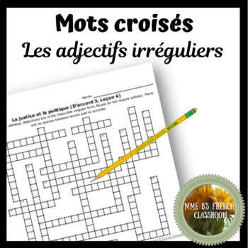 D'accord 3 Leçon 2:  Irregular adjective crossword puzzle