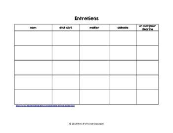 D'accord 3 Leçon 3: Les entretiens:  A partner speaking activity