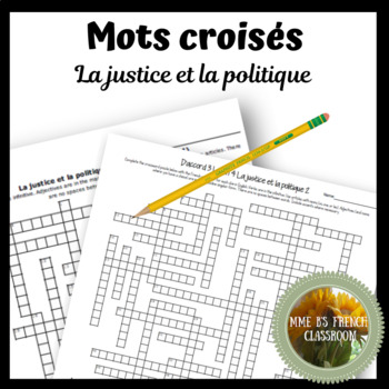 D'accord 3 Leçon 4: La justice et la politique Crossword puzzle