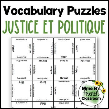 D'accord 3 Leçon 4 Vocabulary puzzle: La justice et la politique