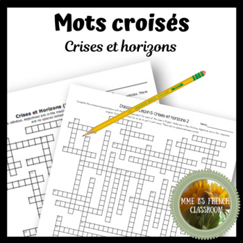 """D'accord 3 Leçon 5: """"Crises et horizons"""" Crossword puzzle"""