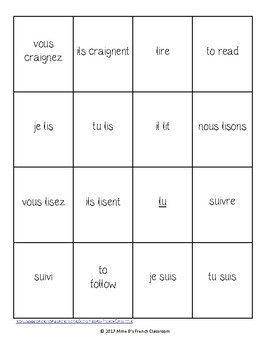 D'accord 3 Leçon 6: UNO style game with irregular RE verbs