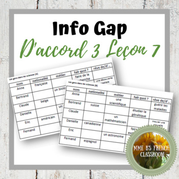 D'accord 3 Leçon 7: Info Gap with vocabulary