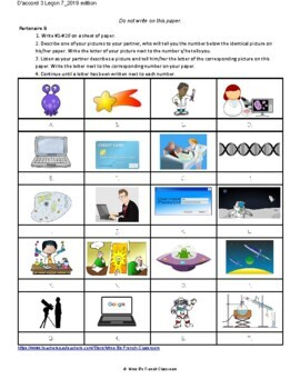D'accord 3 Leçon 7: La technologie et les sciences partner matching game