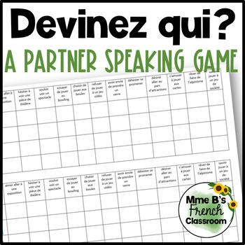 D'accord 3 Leçon 8: Devinez qui?  A partner game using infinitives
