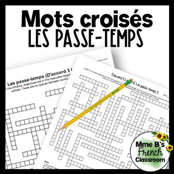 D'accord 3 Leçon 8: Les passe-temps Crossword puzzle