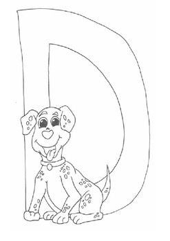 D for Dog Colouring Sheet