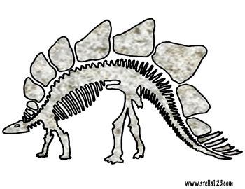 "D is for Dinosaur "" bone puzzle featuring Stegosaurus"