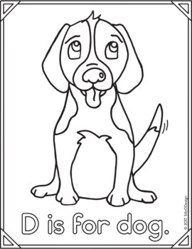Animal Alphabet Coloring Page: D is for Dog