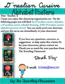 D'nealian Cursive Alphabet Posters & Worksheets {Chalkboard Chevron Polka Dot}