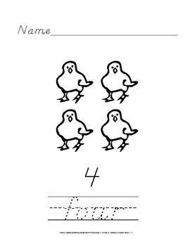 D'nealian Handwriting Practice: Number Words