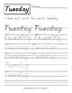 D'nealian Handwriting Style: Calendar Words