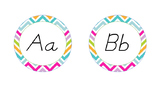D'nealian Word Wall Labels Rainbow Chevron