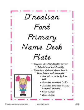 D'nealian font desk name plate with numerals, dominoes, colors and basic shapes