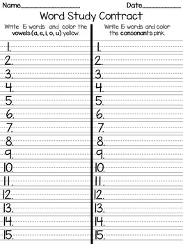 Word Study Contract - Words Their Way