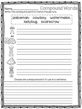 Compound Words with Writing Activities