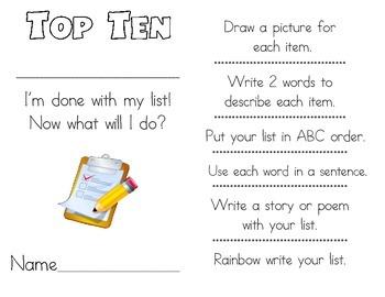 Work on Words Top Ten Writing Activities