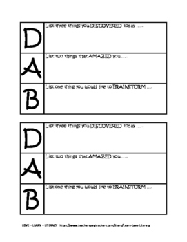 DAB Exit Ticket (Discover, Amazed, Brainstorm)