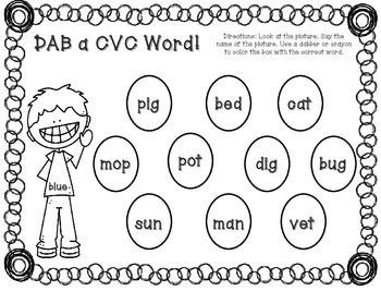 DAB a CVC Word - 8 Center Activities!