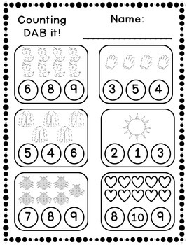 DAB it Activities - Counting 1-10