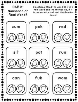 DAB it Activities - Real vs. Nonsense Word