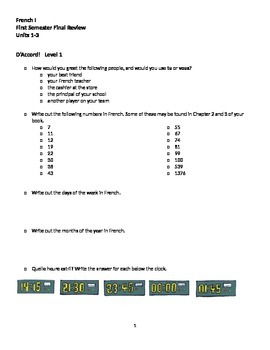 D'ACCORD Level 1 Semester 1 Final Review
