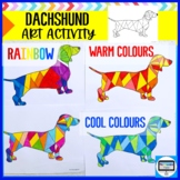 DACHSHUND COOL AND WARM COLOURS ART ACTIVITY SHEET