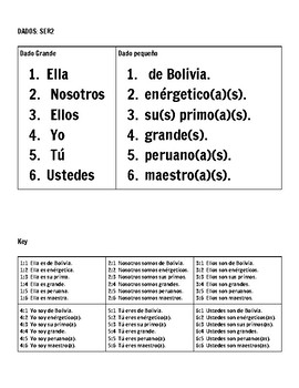 DADOS use of ser and adjectives