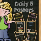 DAILY 5 - Chalkboard Theme - Classroom Posters