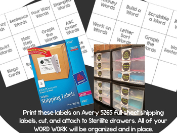 DAILY 5  WORD WORK Drawer Labels White with Black Chalkboard Writing