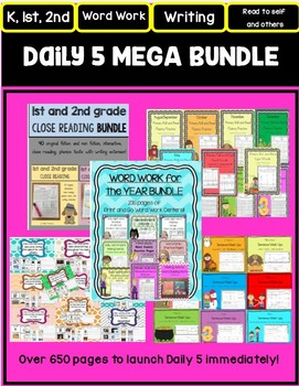 DAILY 5 Word Work, Read to Self and Others and Writing MEGA BUNDLE! 650 pages!