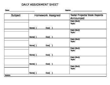 DAILY ASSIGNMENT SHEET MIDDLE SCHOOL