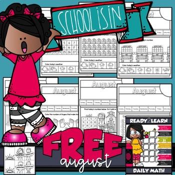 DAILY CALENDAR MATH for Pre-K & K-4 {August Free Sample}