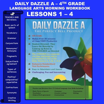 MORNING WORK DAILY DAZZLE A - LANGUAGE ARTS - 4th Grd - BUNDLED LESSONS 1 - 4