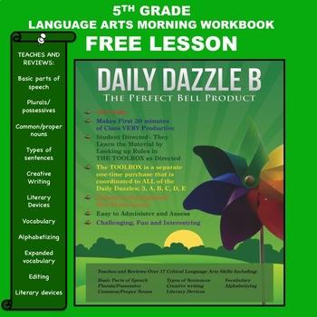 FREE MORNING WORK LANGUAGE ARTS LESSON - DAILY DAZZLE B - 5th Grade
