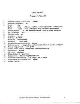 BELL RINGER - LANGUAGE ARTS - DD C BOOK - 6TH GRADE - 1 YEAR - CC ALIGNED