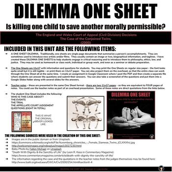 CRITICAL THINKING DILEMMA ONE SHEET