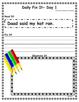 DAILY FIX-IT- UNIT 1 -READING STREET (2013 Edition) - FIRST Grade