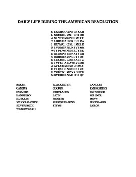 DAILY LIFE DURING THE AMERICAN REVOLUTION WORD SEARCH
