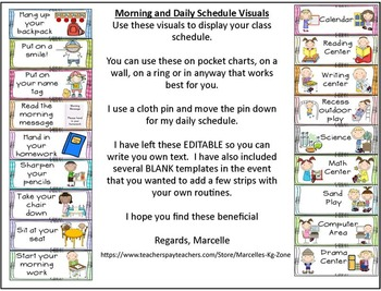 DAILY MORNING ROUTINE VISUAL SCHEDULE And Daily Routine Visuals  EDITABLE  Daily Routine Chart Template