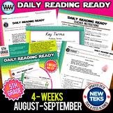 5th Grade Daily Reading Spiral Review for August/September New ELAR TEKS