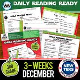 3rd Grade Daily Reading Spiral Review for December New ELA TEKS