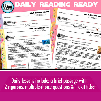 DAILY READING READY for February ~ 3rd Grade Daily Reading Review {TEKS-aligned}