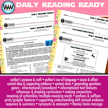 3rd Grade Daily Reading Spiral Review for February New ELA TEKS