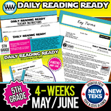 5th Grade Daily Reading Spiral Review for May/June  {TEKS-Aligned}