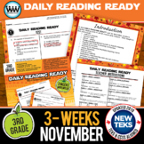 3rd Grade Daily Reading Spiral Review for November New ELA TEKS