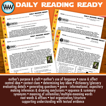 DAILY READING READY for November ~ 4th Grade Daily Reading Review {TEKS-aligned}