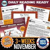 5th Grade Daily Reading Spiral Review for November {TEKS-Aligned}